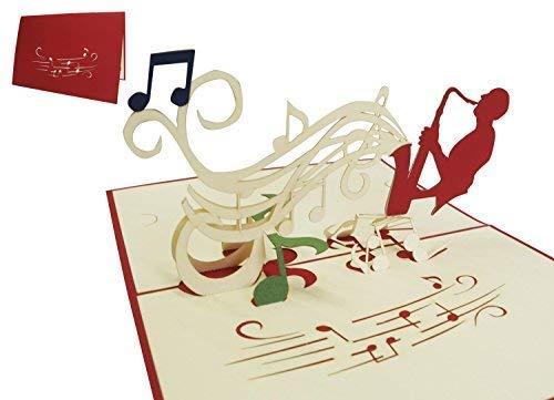 LIN-POP UP Kaarten verjaardagskaarten vouchers muziek concert, saxofoon