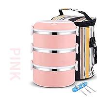積み重ね可能なステンレススチールランチボックスとランチバッグ,大人のための食器が付いている漏れ防止食品貯蔵容器 オフィス-d 22.5x14cm(9x6inch)