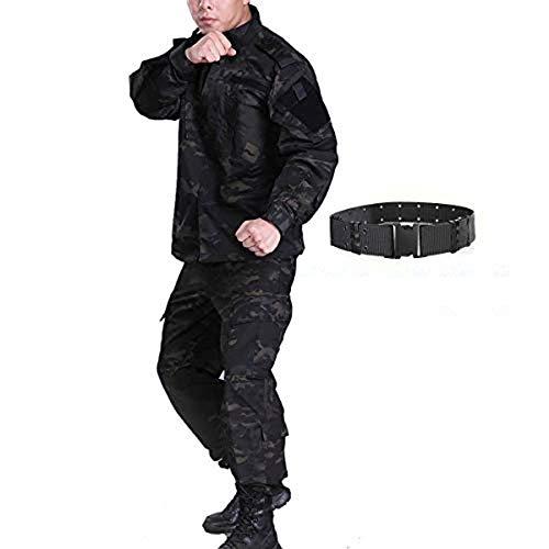 H mundo compra hombres táctico BDU Chaqueta de uniforme de combate Camisa y pantalones traje para ejército militar Airsoft Paintball caza juego de guerra de camuflaje negro MCBK