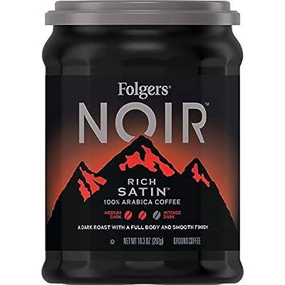 Folgers Noir Rich Satin Dark Roast Ground Coffee, Medium Roast, 61.8 Ounce