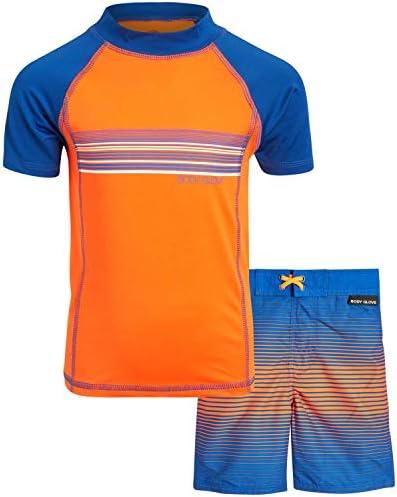 Body Glove Little Boys 2 Piece UPF 50 Rash Guard Swimsuit Set 2 Piece Blue Orange Stripes Size product image