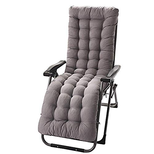 Momi Chair Cushion Thickening and Long Folding Recliner Cotton Pad Plush Cushion Office Chair Rocking Chair Wicker Chair Bamboo Chair Cushion 15548CM Extended,Gray