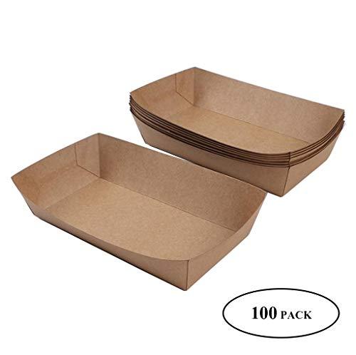 JDH [100er Pack] Hochleistungs-Einweg-Kraftpapier-Lebensmittelschalen, braune Pappteller, ideal für Partys, zum Mitnehmen, zu Hause, Partys, Messen, Picknicks, Karneval