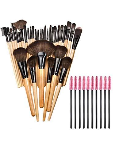 Fanxp® 32Pcs Pinceaux de maquillage professionnel Set avec 10Pcs Brosses à cils Mascara Applicator-Camel