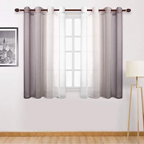 OVAREO Voile Gardinen Vorhang halbtransparent kurz mit Ösen in Farbverlauf Leinenoptik Stores Gardinen Schals für Wohnzimmer Schlafzimmer Kinderzimmer 132×160cm (B×H) 2er Set