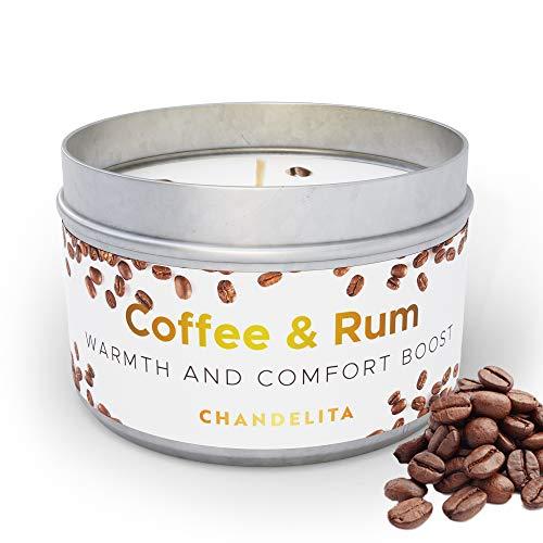 CHANDELITA Aroma-Kerze aus Kaffee mit Leichtem Rumaroma zur Verbesserung Userer Kognitiven Fähigkeiten, Optimierung Unserer Aufmerksamkeit und für ein Genussvolles Wohlbefinden