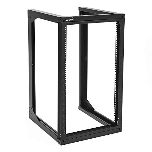 NavePoint 18U Wall Mount Open Frame Network Rack, Swing Out Hinged Gate,24 Inch Depth, Holds Network Servers and AV Equipment, Easy Rear Access to Equipment, Gate Opens 180 Degrees from Either Side