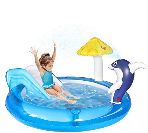 Qdreclod Centro di Gioco Acquatico con Scivolo, Piscina per Bambini da Giardino con l irrigatore d Acqua Dolphin Spray, Scivolo per Piscina