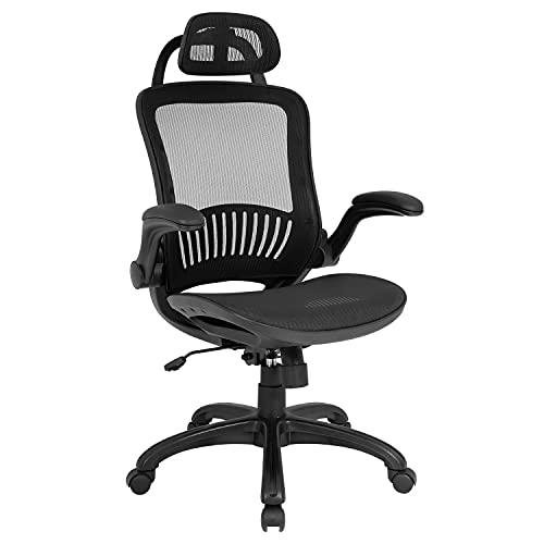 Office Chair Desk Chair Computer Chair Ergonomic Rolling Swivel Mesh Chair Lumbar Support Headrest Flip-up Arms High Back Adjustable Chair for Women& Men,Black