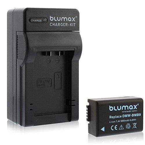 Blumax Akku ersetzt Panasonic DMW-BMB9 / DMW-BMB9E 890mAh + Ladegerät | kompatibel mit Panasonic Lumix DMC-FZ40-FZ45-FZ47-FZ48-FZ60-FZ62-FZ70-FZ72-FZ100-FZ150 Leica V-LUX 2/3