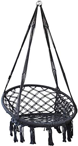 KELEQI Hammock Chair Rope Swing with Side Storage Bag-Handwoven Cotton Hanging Chair for Indoor Outdoor Patio Garden Porch,Capacity Up to 500 LB(Grey)