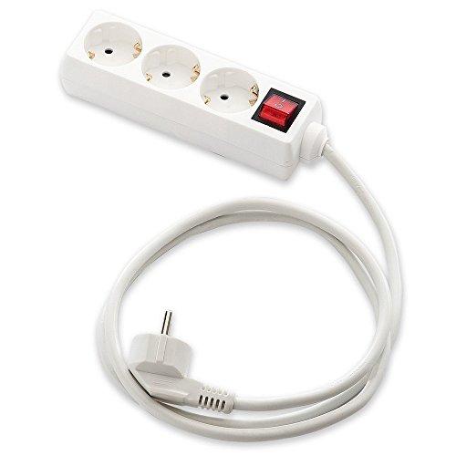 MicroConnect IC-9/703 Regleta de alimentación doméstica con 3 tomas Schuko, Blanco