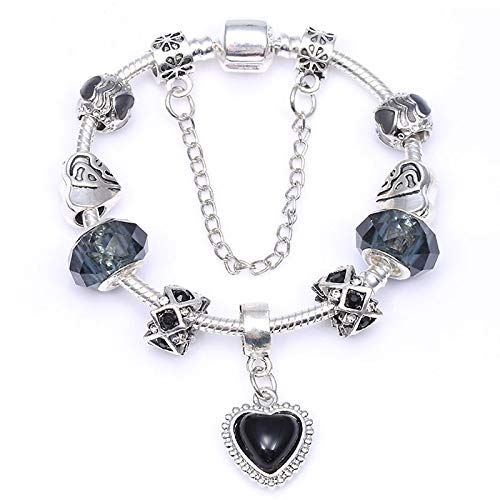 Vingate Pulsera de plata de color con cuentas de corazón de cristal negro DIY fina pulsera para mujeres joyería regalo C01 16 cm