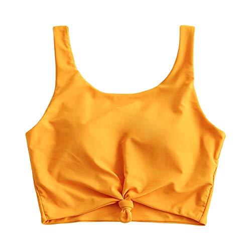 ZAFUL Damen Einfarbig geknotetes gepolstertes Bikinioberteil (Gelb, S)