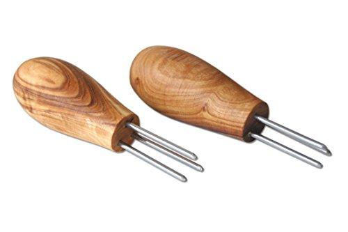 - Lot de 2 piques D.O.M. - Pour épi de maïs ou pomme de terre - Avec manche en bois d'olivier