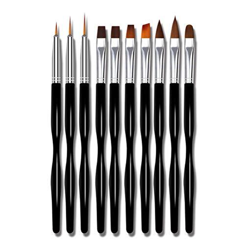 FairySu Woqook Lot de 10 brosses à ongles à rayures mixtes UV Gel Fleur Pinceaux de dessin pour outils professionnels de vernis à ongles