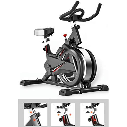 Zzxxo Bicicleta estática de Spinning Deportiva para Estudio,Cardiovascular, Ciclismo, hogar, Gimnasio, Monitor LED, Bicicleta EstáTica con Sensores De Pulso De Mano, Plegable, Unisex