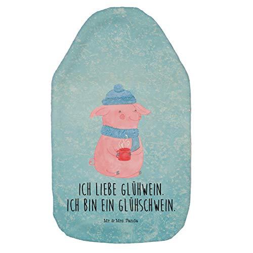 Mr. & Mrs. Panda Wärmekissen, Kinderwärmflasche, Wärmflasche Glühschwein mit Spruch - Farbe Eisblau