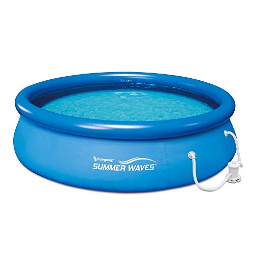 """SUMMER WAVES 10' x 30"""" Quick Set Above Ground Swimming Pool with Filter Pump System includes Filter Cartridge with Built-in Chlorinator"""