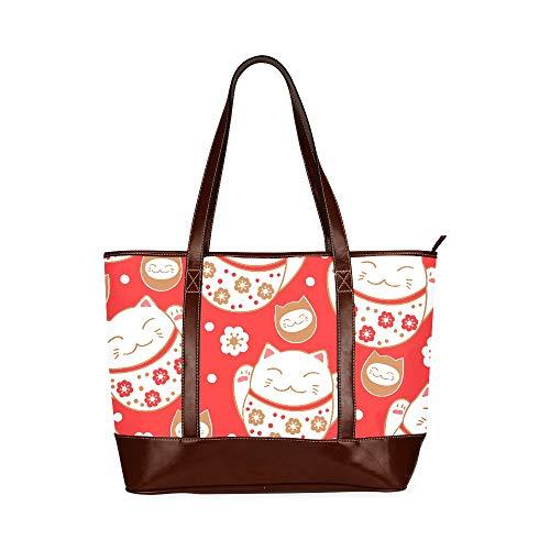 QIAOLII Maneki Neko Lucky Fortunate Willkommen Katzenbuch Einkaufstasche Handtaschengriffe Bedruckte Reisetaschen Schulter mit Reißverschluss Oberer Griff