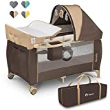 Lionelo Sven Plus 2 in 1 Baby Bett Laufstall Baby ab Geburt bis 15 kg Wickelauflage Moskitonetz luftige Seitenwände mit Seiteneingang Tragetasche zusammenklappbar (Beige Stripes)