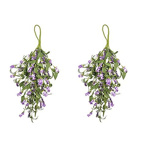 HUIKJI 2 piezas de 23.6 pulgadas artificiales florales Swag, coronas de lágrima de verano para puerta delantera, ventana, sala de estar, porche, centro de mesa y habitación de la cama