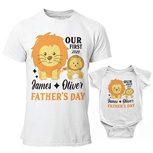 Personalized Matching Our First Father's Day T-Shirt Onesie Gift for Best Dad Papa Grandpa Ever | Funny Customize Baby Bodysuits & Shirt Gifts for Doughter and Son | Daddy and Baby Wolf | C02 | D04
