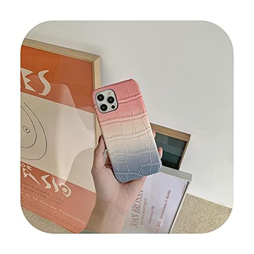 Funda de cuero degradado para iPhone 11 Pro Max 12Pro xs xr x 8 7 Plus medio envuelto lujo diseño cubierta del teléfono para iPhone 12 Coque SE-a-X