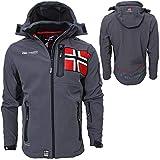 Geographical Norway - Chaqueta para hombre, chaqueta cortavientos, deportiva, para exteriores, Todo el año, Softshell Jacket, Hombre, color gris, tamaño XXXL