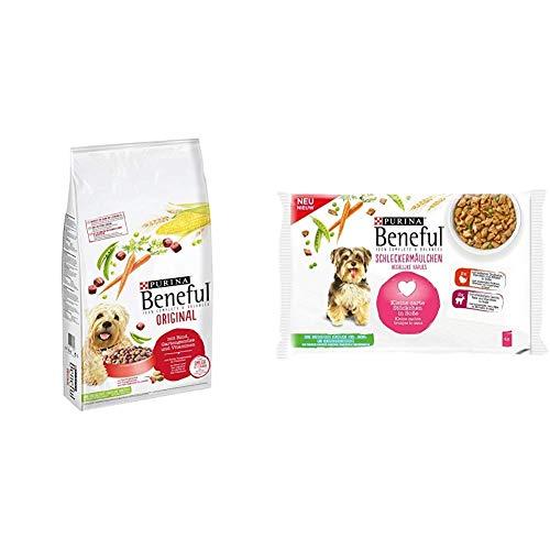 PURINA BENEFUL Trocken- und Nassfutter Mix-Pack, Original Rind und Schleckermäulchen Lamm, (1 x 12kg und 10 x 400g)
