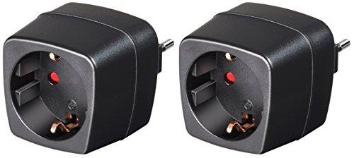Doppelpack Brennenstuhl Reisestecker Adapter, Steckdosenadapter Reise (Für: Italien Steckdose und Euro Stecker) Farbe: schwarz (2)