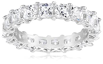 Platinum-Plated Sterling Silver Princess Cut All-Around Band Ring made with Swarovski Zirconia  7.5 cttw  Size 7