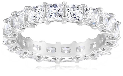 Platinum-Plated Sterling Silver Princess Cut All-Around Band Ring made with Swarovski Zirconia (7.5 cttw), Size 8