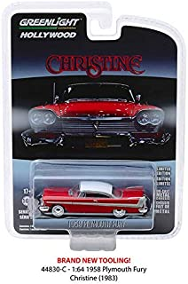 New DIECAST Toys CAR Greenlight 1:64 Hollywood Series 23 - Christine - 1958 Plymouth Fury (RED/White ROOF) 44830-C