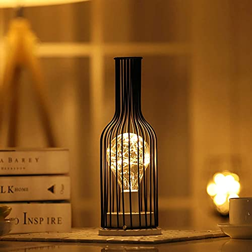 Laytte Lámpara Mesa decoración Vino Forma Botella Tinto Lámpara LED Lábebida Luz Vidrio Retro Lámpara Cristal Metal Adecuado Bar Oficina Comedor Sala Estar