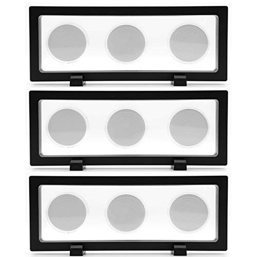 Skelang 3D Floating Display Stand with 6 Coin Capsules, Floating Frame Display Holder, Suspended Display Case for AA Medallion, Challenge Coin, Chip, Jewelry, Pin, 23×9cm, Set of 3