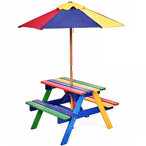GIANTEX Set di Tavolo Picnic per Bambini in Legno Massiccio con Ombrellone, Set da Giardino per Bambini 1 tavolo e 2 panche Colorato per Giardino, Balcone, Campeggio