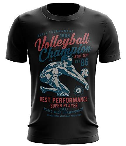 Stylotex Fitness T-Shirt Herren Sport Shirt Volleyball Champion Gym Tshirts für Performance beim Training   Männer Kurzarm   Funktionelle Sport Bekleidung, Größe:XL, Farbe:schwarz