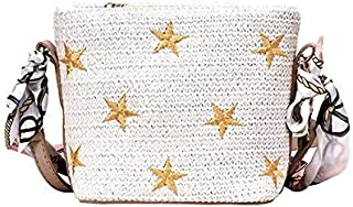 TOOGOO Women'S Embroidery Star Bag Straw Handbag Toss Ribbon Bow Beach Bag Messenger Bag White