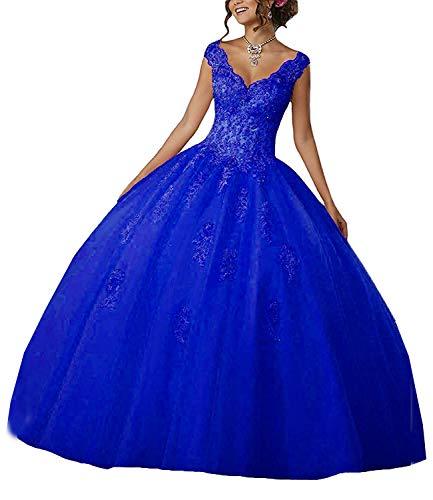 Carnivalprom Damen V-Ausschnitt Quinceanera Kleider Mit Spitze Abendkleider Lang Hochzeitskleider Elegant Ballkleid(Königsblau,48)