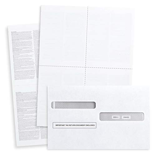 Blank 2020 W2 4 Up Tax Forms, 100 Employee Sets, Compatible with QuickBooks Online, Ideal for E-Filing, Works with Laser or Inkjet Printers, 100 Sheets and 100 Self Seal Envelopes