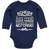 Shirtracer Sprüche Baby - Scheiß aufs Pferd echte Prinzen kommen mit dem Motorrad - 6/12 Monate - Navy Blau - Body Baby mit Spruch - BZ30 - Baby Body Langarm