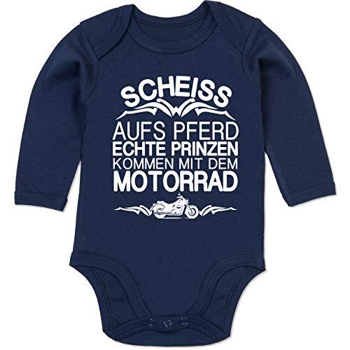 Shirtracer Sprüche Baby - Scheiß aufs Pferd echte Prinzen kommen mit dem Motorrad - 3/6 Monate - Navy Blau - Motorrad Strampler - BZ30 - Baby Body Langarm