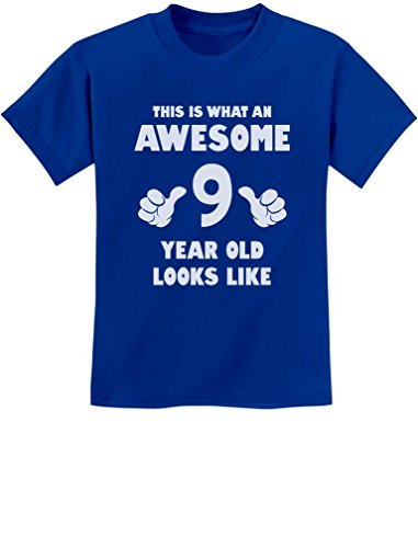 TeeStars - This is What an Awesome 9 Year Old Looks Like Youth Kids T-Shirt Medium Blue