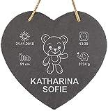 LAUBLUST Schiefer-Herz personalisiert mit Teddybär Gravur - 25x25cm, Anthrazit - Dekorative Schiefertafel mit Halteseil als Erinnerungstafel   Geburtsgeschenk   Wand-Schild   Geschenkidee zur Taufe