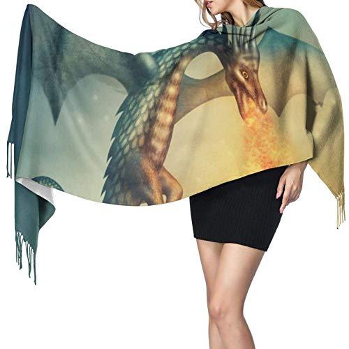 Flying Fantasy Dragon Spray Fire - Bufanda de cachemira impresa, grande, suave y cálida, bufanda con borlas, bufandas, 77'x 27'