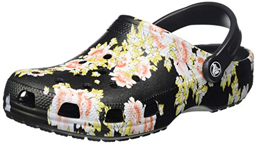 Crocs womens Classic Graphic | Water Shoes Slip on Shoes Clog, Black/Floral, 5 Women 3 Men US
