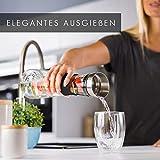 GLASWERK Design Karaffe - Glaskaraffe (1L) mit Fruchtspieß, Edelstahldeckel & Griff - edle Wasserkaraffe aus Borosilikatglas - 4