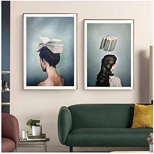 Xchomecp-Quadri moderni15.7x23.6in(40x60cm) x2pcs No Frame Astratto Libro Donna Poster Opere d'Arte su Tela Pittura Moderna Wall Art e Stampe Camera da Letto Immagine Decorativa Living Rom Home Decor