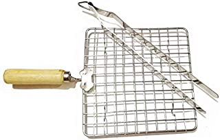 Roasting Net with Steel Tong,Stainless Steel Wire Roaster, Wooden Handle with Roasting Net, Papad Jali,Roti Grill,Chapati Grill Square Roaster 1+Tong 1 Pcs,